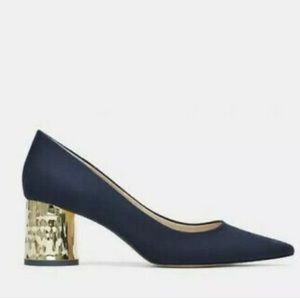 Zara Navy Faux Suede Gold Cylindrical Block Heel